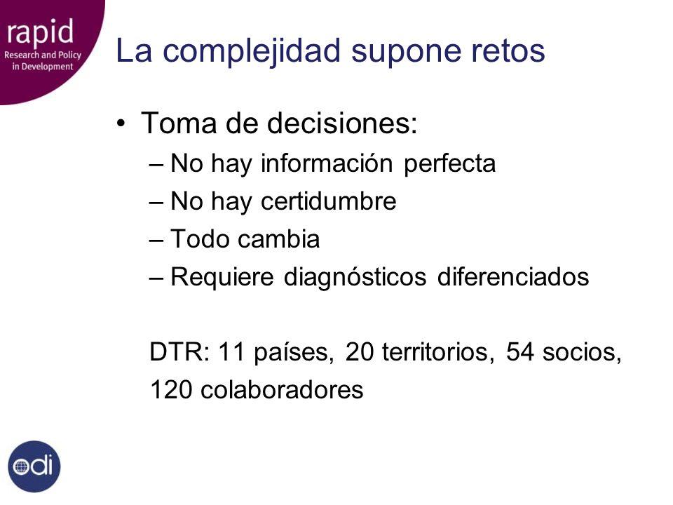 La complejidad supone retos Toma de decisiones: –No hay información perfecta –No hay certidumbre –Todo cambia –Requiere diagnósticos diferenciados DTR: 11 países, 20 territorios, 54 socios, 120 colaboradores