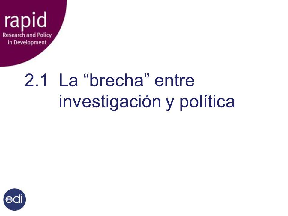 2.1 La brecha entre investigación y política