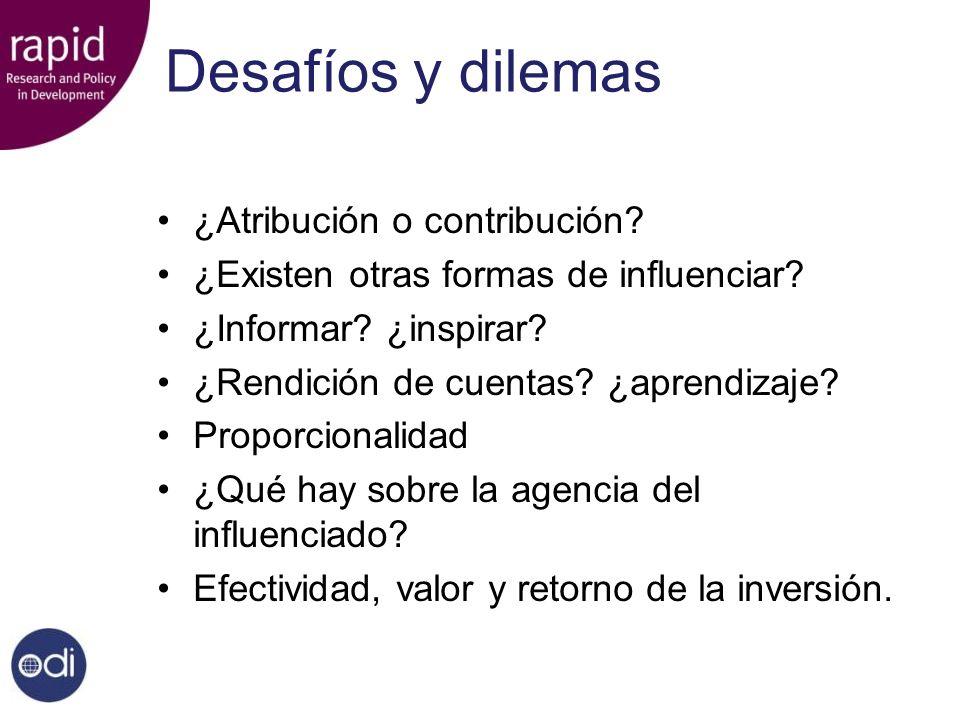 Desafíos y dilemas ¿Atribución o contribución? ¿Existen otras formas de influenciar? ¿Informar? ¿inspirar? ¿Rendición de cuentas? ¿aprendizaje? Propor