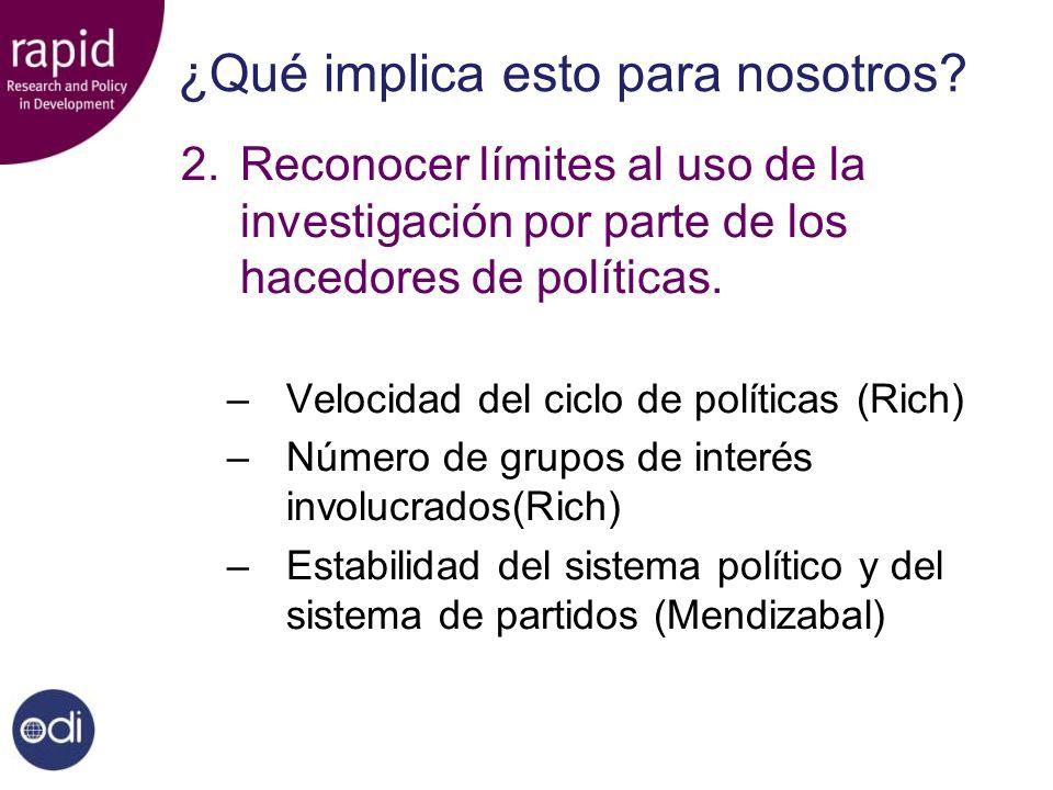 ¿Qué implica esto para nosotros? 2.Reconocer límites al uso de la investigación por parte de los hacedores de políticas. –Velocidad del ciclo de polít