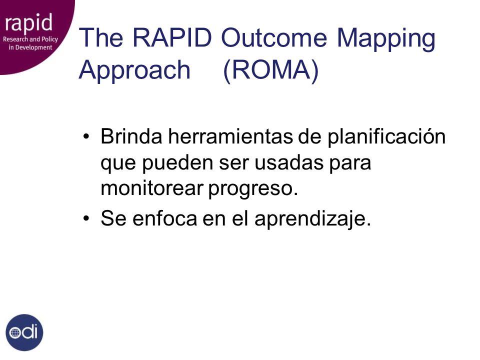 The RAPID Outcome Mapping Approach(ROMA) Brinda herramientas de planificación que pueden ser usadas para monitorear progreso.