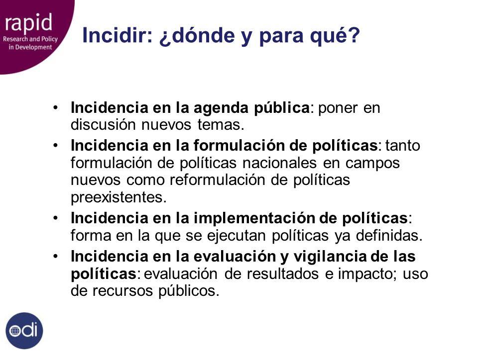 Incidir: ¿dónde y para qué? Incidencia en la agenda pública: poner en discusión nuevos temas. Incidencia en la formulación de políticas: tanto formula