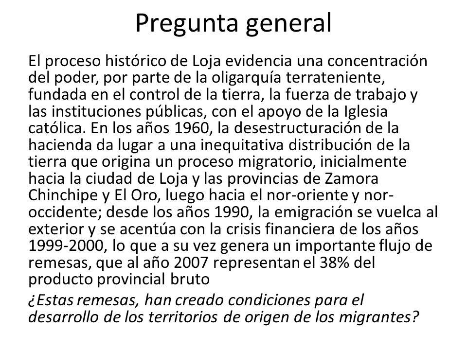Pregunta general El proceso histórico de Loja evidencia una concentración del poder, por parte de la oligarquía terrateniente, fundada en el control d