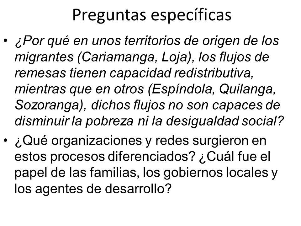 Preguntas específicas ¿Por qué en unos territorios de origen de los migrantes (Cariamanga, Loja), los flujos de remesas tienen capacidad redistributiv