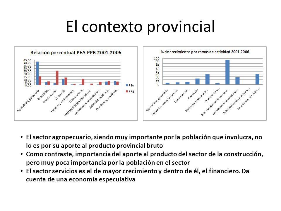 El contexto provincial El sector agropecuario, siendo muy importante por la población que involucra, no lo es por su aporte al producto provincial bru