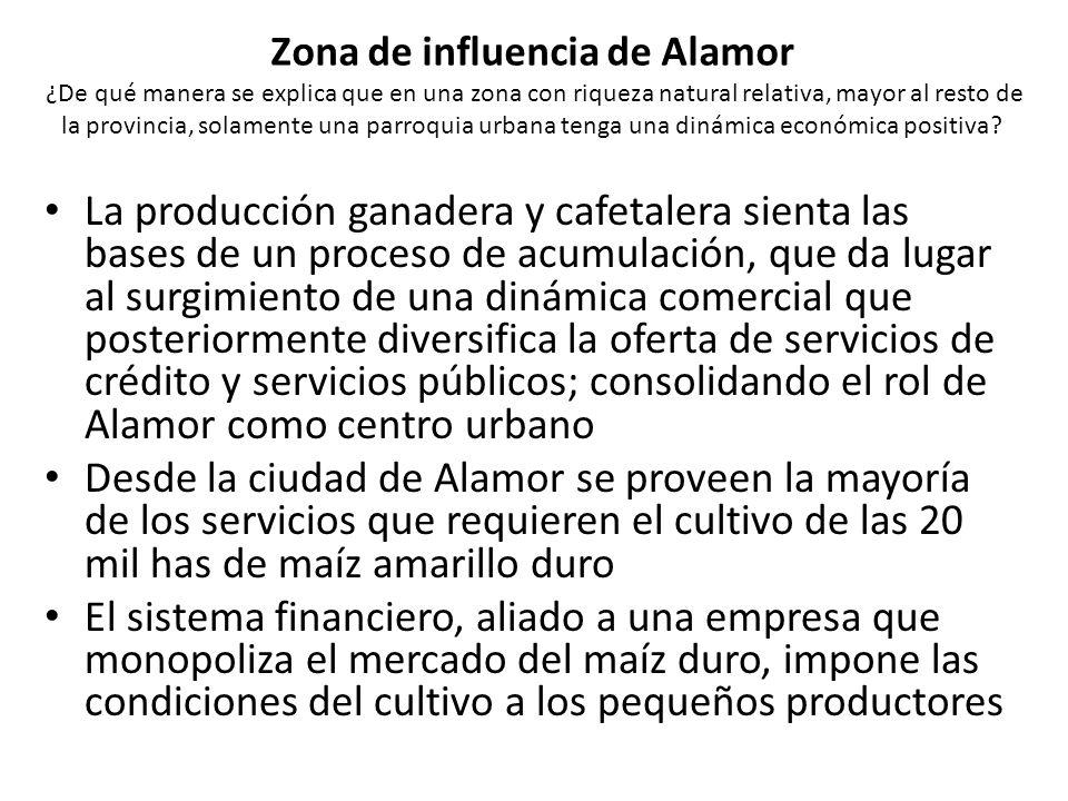 Zona de influencia de Alamor ¿De qué manera se explica que en una zona con riqueza natural relativa, mayor al resto de la provincia, solamente una par