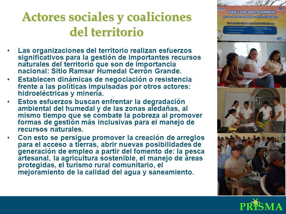 Actores sociales y coaliciones del territorio Las organizaciones del territorio realizan esfuerzos significativos para la gestión de importantes recursos naturales del territorio que son de importancia nacional: Sitio Ramsar Humedal Cerrón Grande.