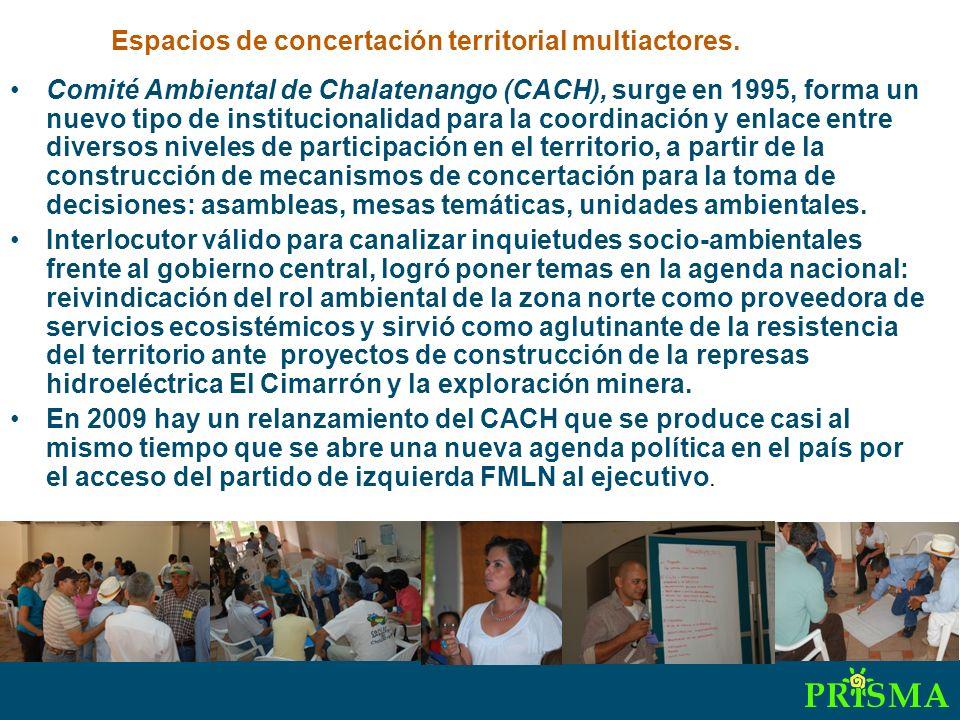 Comité Ambiental de Chalatenango (CACH), surge en 1995, forma un nuevo tipo de institucionalidad para la coordinación y enlace entre diversos niveles de participación en el territorio, a partir de la construcción de mecanismos de concertación para la toma de decisiones: asambleas, mesas temáticas, unidades ambientales.