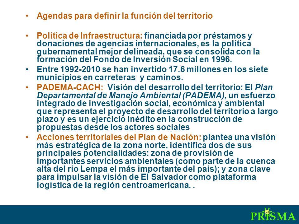 Agendas para definir la función del territorio Política de Infraestructura: financiada por préstamos y donaciones de agencias internacionales, es la política gubernamental mejor delineada, que se consolida con la formación del Fondo de Inversión Social en 1996.