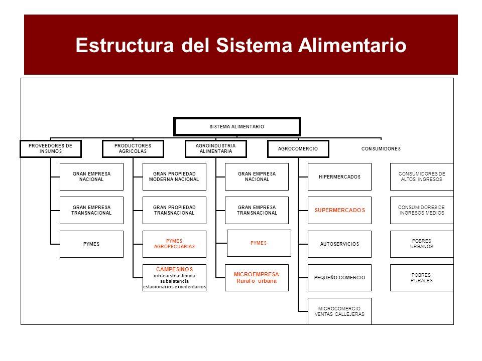 Estructura del Sistema Alimentario SISTEMA ALIMENTARIO PROVEEDORES DE INSUMOS GRAN EMPRESA NACIONAL GRAN EMPRESA TRANSNACIONAL PYMES PRODUCTORES AGRIC