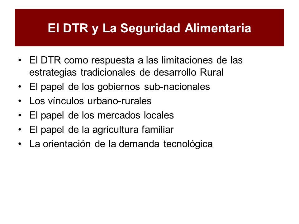 El DTR y La Seguridad Alimentaria El DTR como respuesta a las limitaciones de las estrategias tradicionales de desarrollo Rural El papel de los gobier