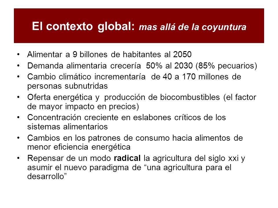 El contexto global: mas allá de la coyuntura Alimentar a 9 billones de habitantes al 2050 Demanda alimentaria crecería 50% al 2030 (85% pecuarios) Cam