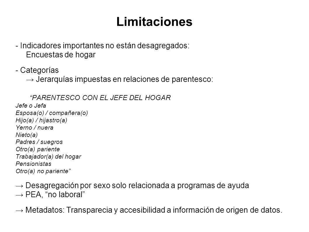 Limitaciones - Indicadores importantes no están desagregados: Encuestas de hogar - Categorías Jerarquías impuestas en relaciones de parentesco: PARENT