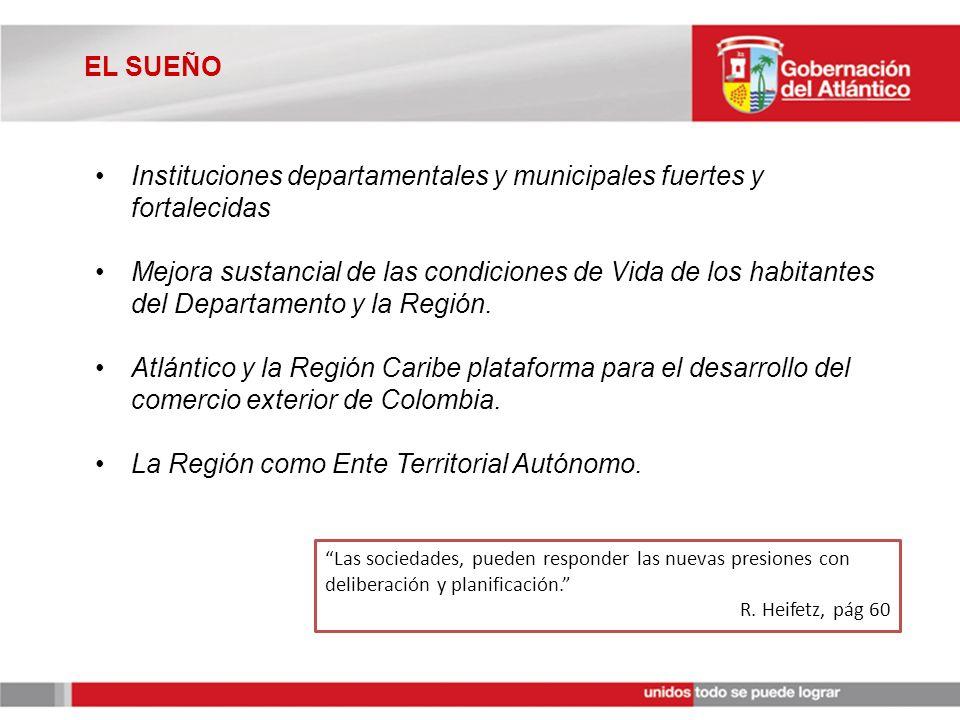 EL SUEÑO Instituciones departamentales y municipales fuertes y fortalecidas Mejora sustancial de las condiciones de Vida de los habitantes del Departamento y la Región.