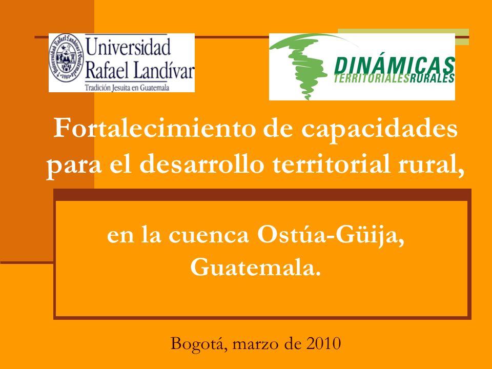 Fortalecimiento de capacidades para el desarrollo territorial rural, en la cuenca Ostúa-Güija, Guatemala.