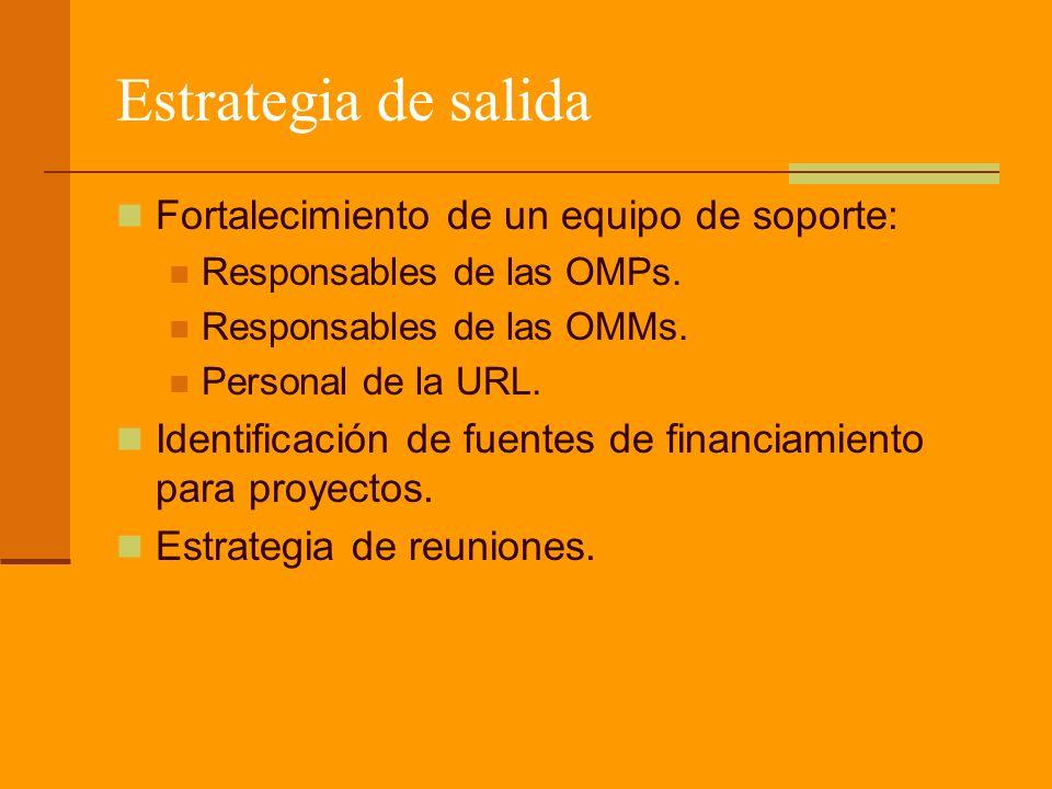 Estrategia de salida Fortalecimiento de un equipo de soporte: Responsables de las OMPs.