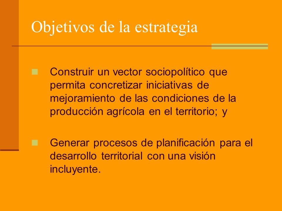 Objetivos de la estrategia Construir un vector sociopolítico que permita concretizar iniciativas de mejoramiento de las condiciones de la producción agrícola en el territorio; y Generar procesos de planificación para el desarrollo territorial con una visión incluyente.