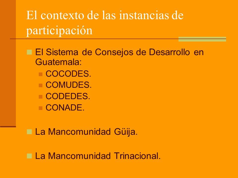 El contexto de las instancias de participación El Sistema de Consejos de Desarrollo en Guatemala: COCODES.