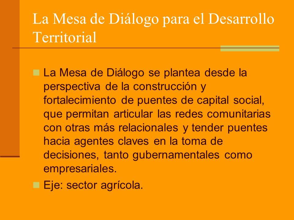 La Mesa de Diálogo para el Desarrollo Territorial La Mesa de Diálogo se plantea desde la perspectiva de la construcción y fortalecimiento de puentes de capital social, que permitan articular las redes comunitarias con otras más relacionales y tender puentes hacia agentes claves en la toma de decisiones, tanto gubernamentales como empresariales.