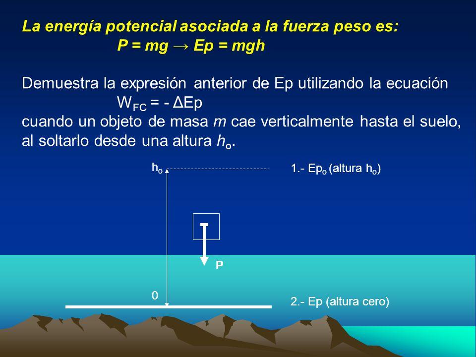 La energía potencial asociada a la fuerza peso es: P = mg Ep = mgh Demuestra la expresión anterior de Ep utilizando la ecuación W FC = - ΔEp cuando un
