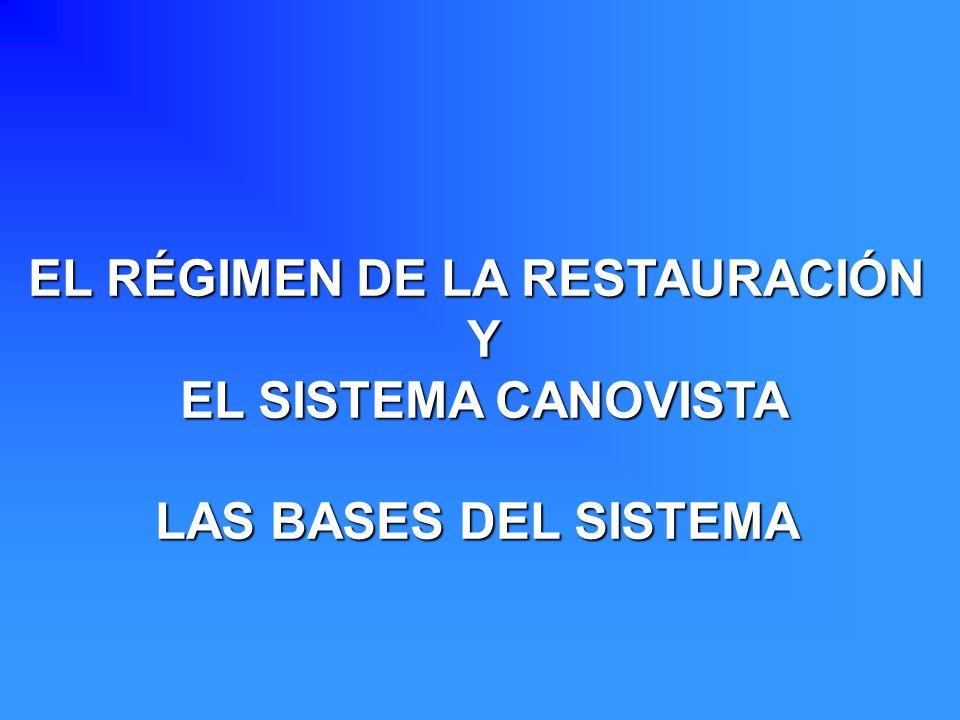 EL RÉGIMEN DE LA RESTAURACIÓN Y EL SISTEMA CANOVISTA EL SISTEMA CANOVISTA LAS BASES DEL SISTEMA
