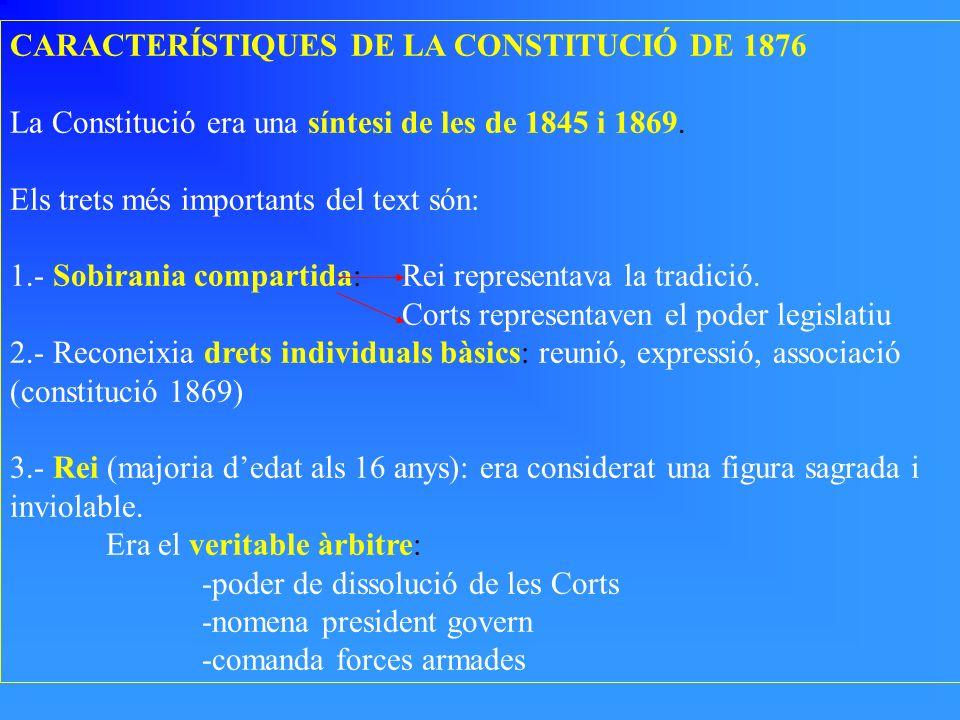 CARACTERÍSTIQUES DE LA CONSTITUCIÓ DE 1876 La Constitució era una síntesi de les de 1845 i 1869. Els trets més importants del text són: 1.- Sobirania