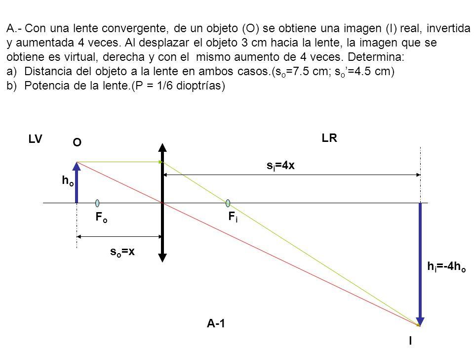 LV LR O I FoFo FiFi s o =x hoho h i =-4h o s i =4x A.- Con una lente convergente, de un objeto (O) se obtiene una imagen (I) real, invertida y aumenta