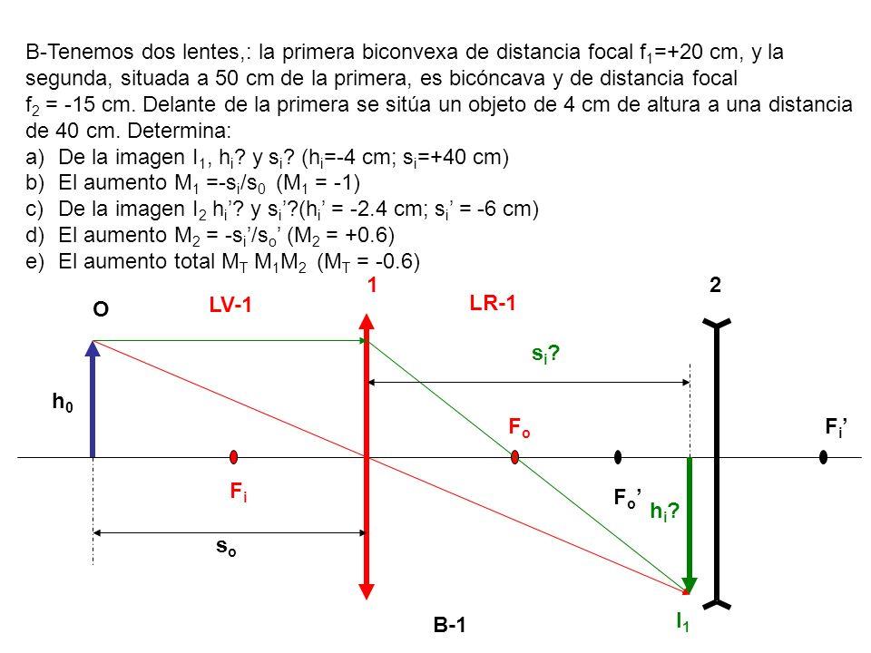 B-1 B-Tenemos dos lentes,: la primera biconvexa de distancia focal f 1 =+20 cm, y la segunda, situada a 50 cm de la primera, es bicóncava y de distanc