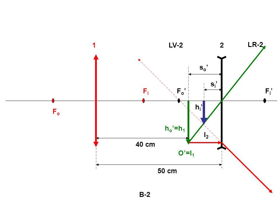 B-2 FoFo FiFi F o F i 12 O=I 1 h o =h 1 I2I2 h i s o s i LV-2 LR-2 50 cm 40 cm