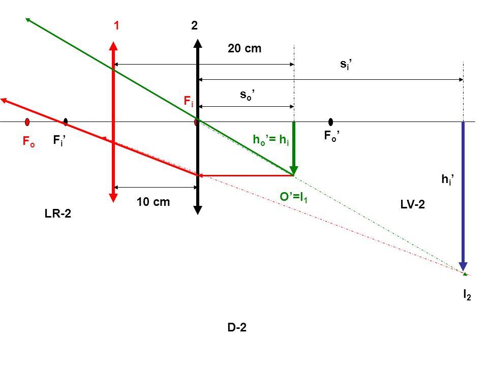 D-2 FoFo FiFi F i F o 12 O=I 1 h o = h i LR-2 LV-2 I2I2 s i h i s o 10 cm 20 cm