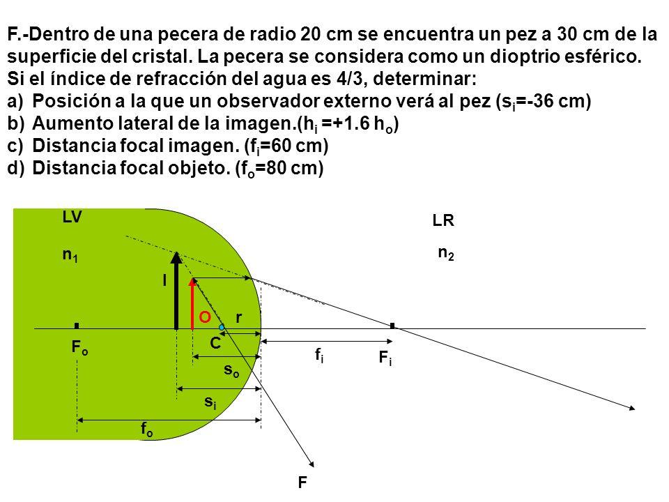 C FiFi FoFo soso LV LR n1n1 n2n2 r sisi fifi fofo F.-Dentro de una pecera de radio 20 cm se encuentra un pez a 30 cm de la superficie del cristal. La