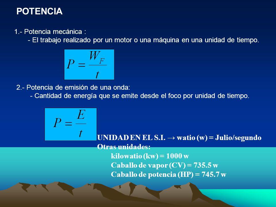 POTENCIA 1.- Potencia mecánica : - El trabajo realizado por un motor o una máquina en una unidad de tiempo. UNIDAD EN EL S.I. watio (w) = Julio/segund