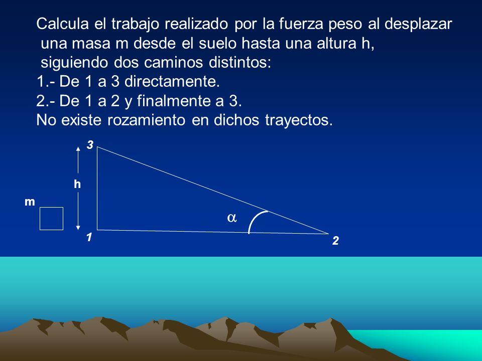 Calcula el trabajo realizado por la fuerza peso al desplazar una masa m desde el suelo hasta una altura h, siguiendo dos caminos distintos: 1.- De 1 a