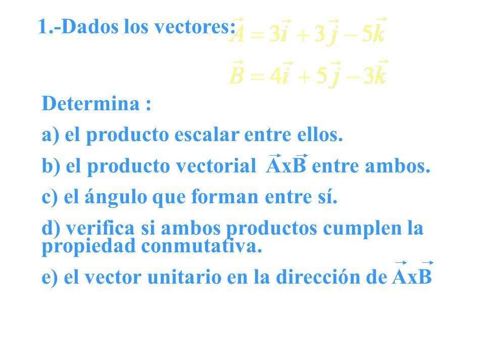 1.-Dados los vectores: Determina : a) el producto escalar entre ellos. b) el producto vectorial AxB entre ambos. c) el ángulo que forman entre sí. d)