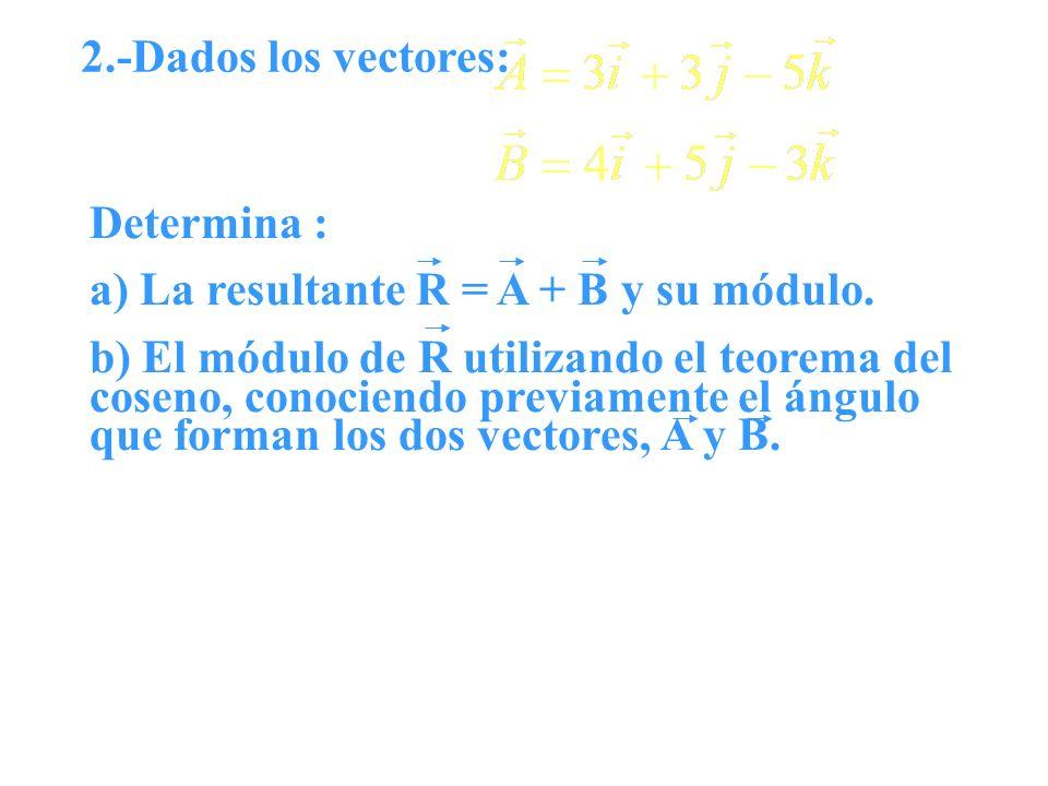 2.-Dados los vectores: Determina : a) La resultante R = A + B y su módulo. b) El módulo de R utilizando el teorema del coseno, conociendo previamente