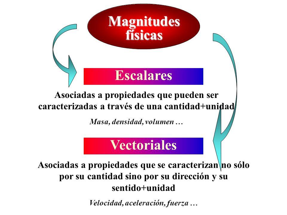Magnitudes físicas Escalares Vectoriales Asociadas a propiedades que pueden ser caracterizadas a través de una cantidad+unidad Masa, densidad, volumen