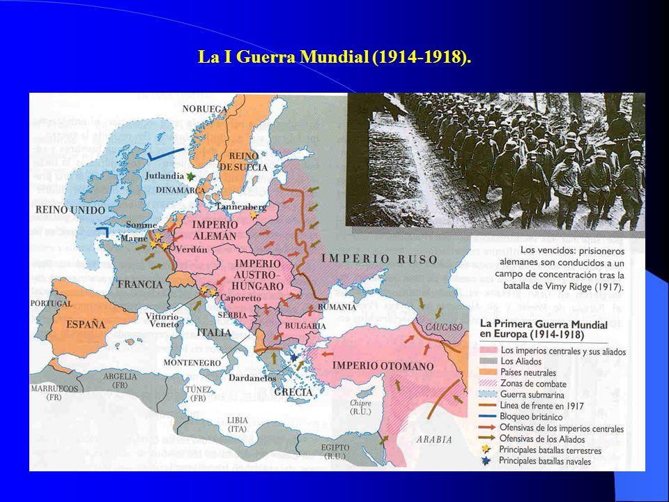 II. LA CRISIS DEL PARLAMENTARISMO. EVOLUCIÓN POLÍTICA DESDE 1914 A 1923. En el ámbito internacional, el reinado de Alfonso XIII coincide con la carrer