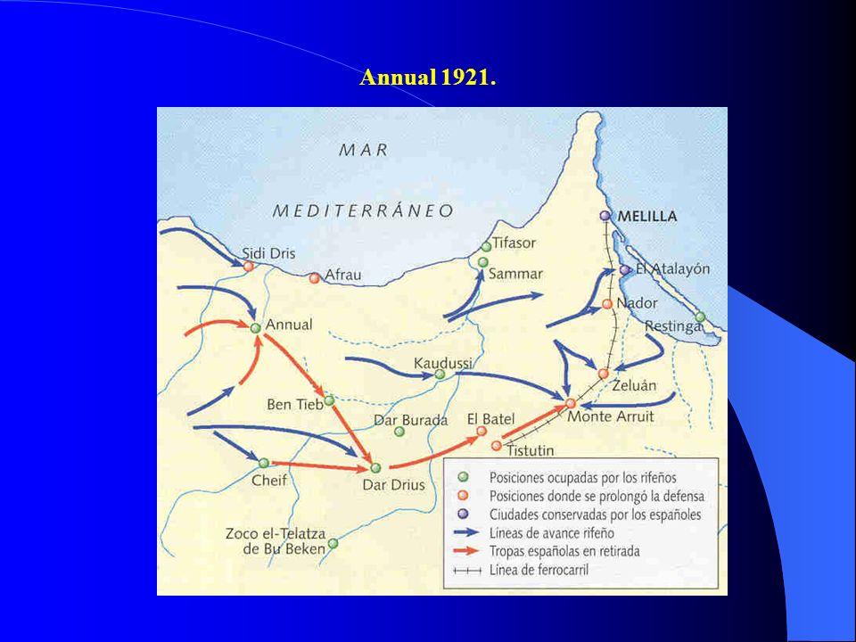 5. El desastre de Annual y sus consecuencias. Tras la I G.M., Francia acelera la ocupación de su zona de Marruecos y hace saber a España que si no no