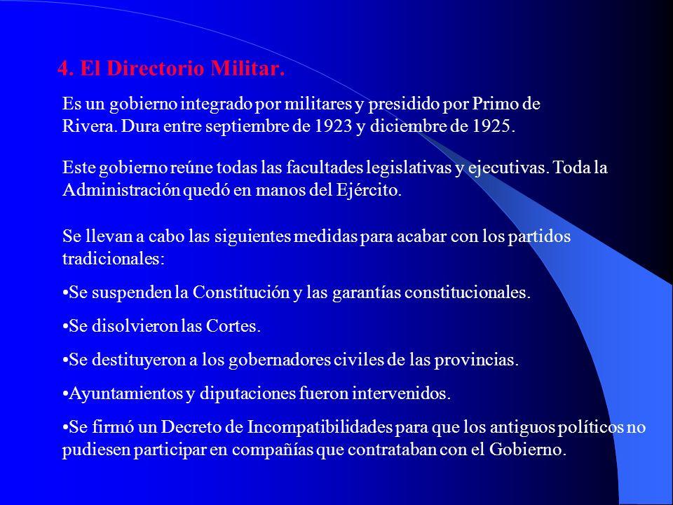 3. Los apoyos sociales. La implantación del Directorio Militar (gobierno de Primo de Rivera) fue aceptada por gran parte del país que creía en la rege