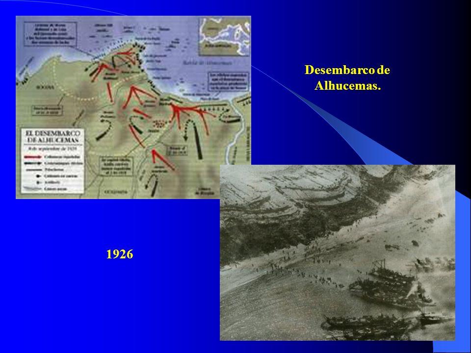b) La solución del problema marroquí: el desembarco de Alhucemas de 1925. Fue el éxito más notable de la Dictadura. Con respecto a Marruecos, él pasó