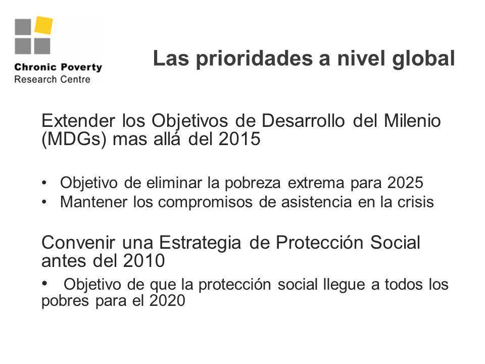 Las prioridades a nivel global Extender los Objetivos de Desarrollo del Milenio (MDGs) mas allá del 2015 Objetivo de eliminar la pobreza extrema para