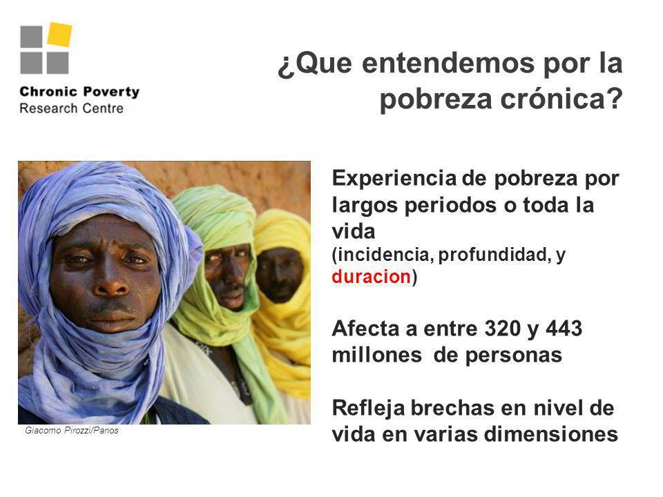 ¿ Que entendemos por la pobreza crónica? Experiencia de pobreza por largos periodos o toda la vida (incidencia, profundidad, y duracion) Afecta a entr