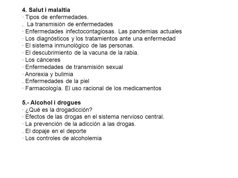 4. Salut i malaltia · Tipos de enfermedades.. La transmisión de enfermedades · Enfermedades infectocontagiosas. Las pandemias actuales · Los diagnósti