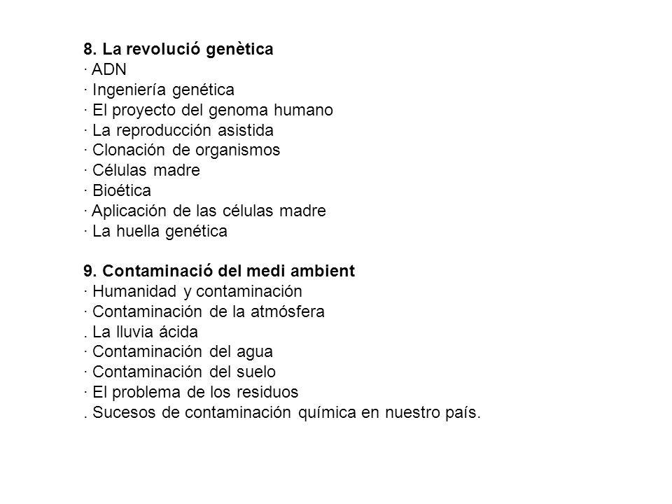 8. La revolució genètica · ADN · Ingeniería genética · El proyecto del genoma humano · La reproducción asistida · Clonación de organismos · Células ma