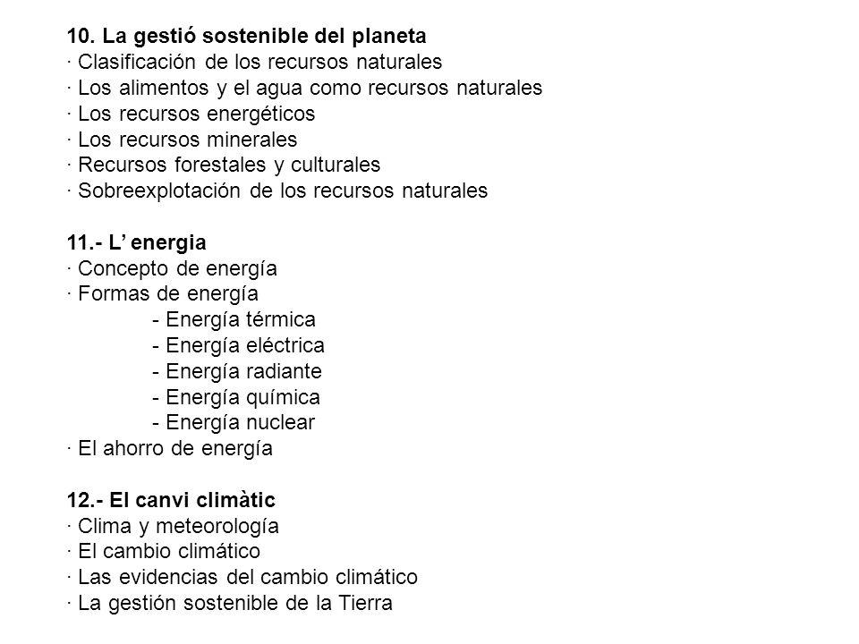 10. La gestió sostenible del planeta · Clasificación de los recursos naturales · Los alimentos y el agua como recursos naturales · Los recursos energé