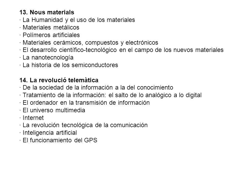 13. Nous materials · La Humanidad y el uso de los materiales · Materiales metálicos · Polímeros artificiales · Materiales cerámicos, compuestos y elec