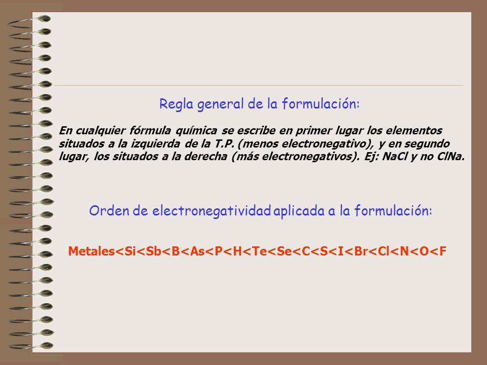 Regla general de la formulación: En cualquier fórmula química se escribe en primer lugar los elementos situados a la izquierda de la T.P. (menos elect