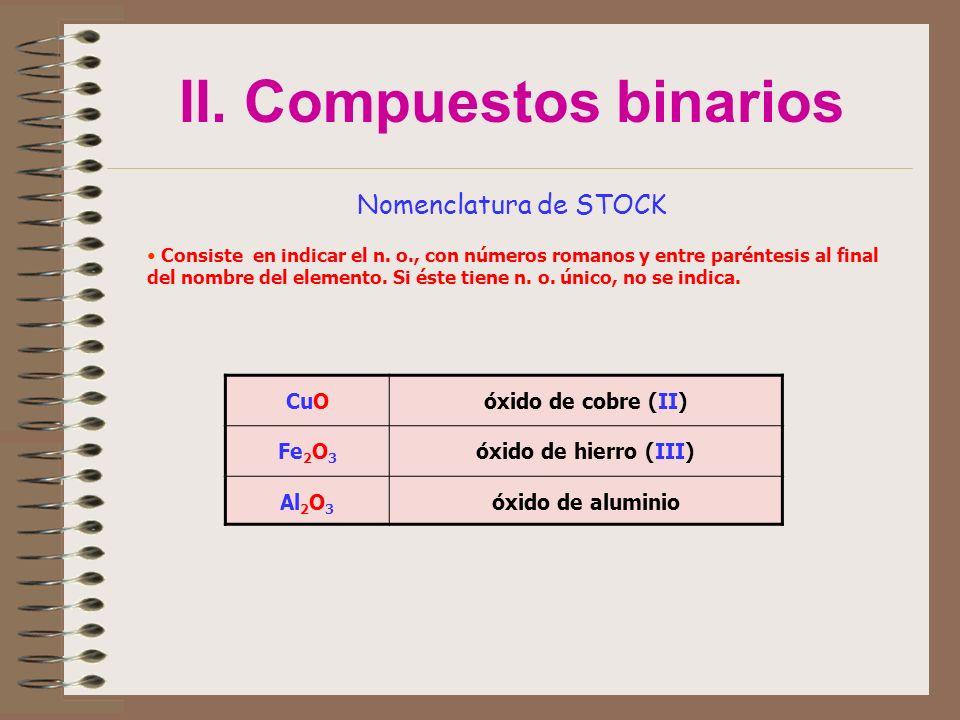 II. Compuestos binarios Nomenclatura de STOCK Consiste en indicar el n. o., con números romanos y entre paréntesis al final del nombre del elemento. S