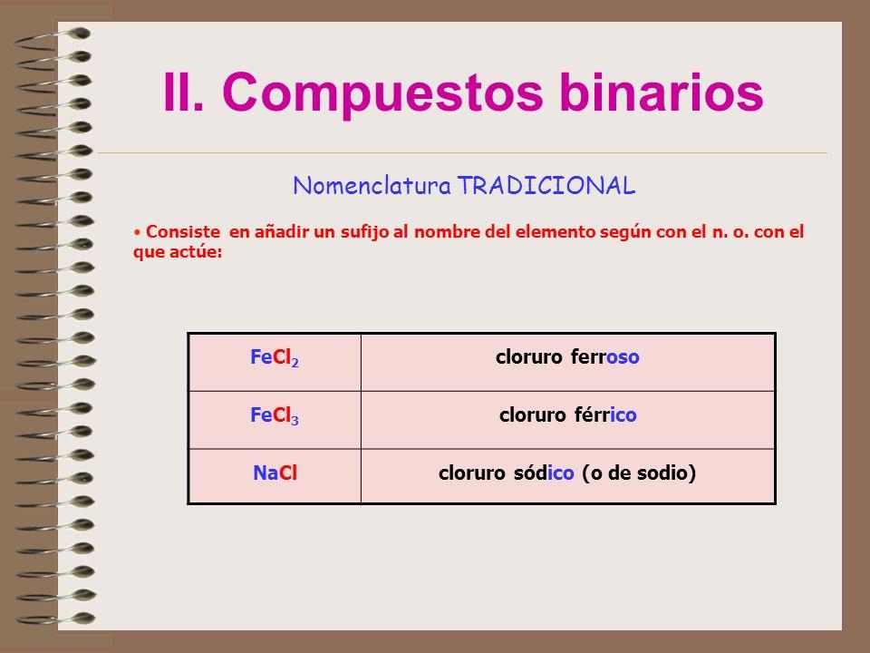 II. Compuestos binarios Nomenclatura TRADICIONAL Consiste en añadir un sufijo al nombre del elemento según con el n. o. con el que actúe: FeCl 2 cloru