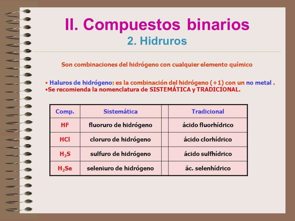 II. Compuestos binarios 2. Hidruros Son combinaciones del hidrógeno con cualquier elemento químico Haluros de hidrógeno: es la combinación del hidróge